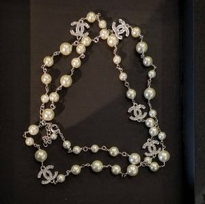 CHANEL Jewelry - Chanel silver tone long pearl necklace